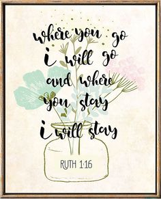 Your place to buy and sell all things handmade Ruth 1 16, Bible Verse Art, Bible Quotes, Bible Scriptures, God Bless You Quotes, Everyday Quotes, Worth Quotes, Christian Decor, Illustrated Faith