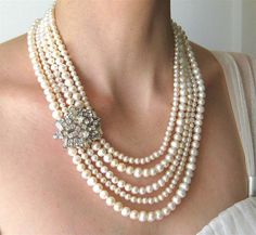 Five Strand Pearl Wedding Necklace Vintage Rhinestone by Tissage, $140.00