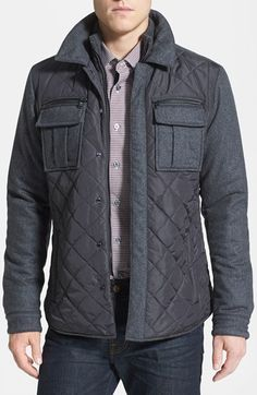 c4cc54965c0b Micheal Kors Quilted Mixed Media Shirt Jacket