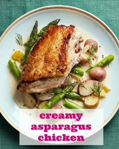 When you get tired of the same old chicken dinners, give this spring recipe a try. The one-pot dish pairs braised chicken breasts with asparagus and potatoes in a creamy white wine sauce.