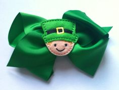 St. Patrick's Day leprechaun boutique hair bow by KathysKreations3, $6.00