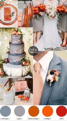 November wedding colours { Grey and Shades of Orange Wedding Palette } Fab Mood #wedding #weddingcolours