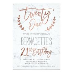 Rose gold typography feathers marble 21st Birthday Card 21st Birthday Decorations, 21st Bday Ideas,