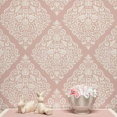 Surrender to love with our new Love Birds Lace Damask Stencil. Filled with swirling floral details and sweet bird motifs, it's ideal for painting a baby's nursery or a sophisticated feature wall in an