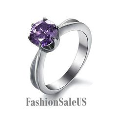 Stainless Steel w/ Purple Cubic Zirconia Women's Ring Engagement Wedding Band #Unbranded #SolitairewithAccents