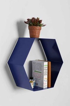 Hexagon Shelf in Blue - Urban Outfitters