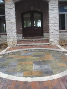 Clay Paver with concrete paver inlay CopperTree landscape Clay Pavers, Concrete Pavers, Outdoor Rooms, Outdoor Living, Outdoor Decor, Central Illinois, Landscape Architecture, Design Elements, Patio