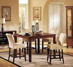 "5pc Counter Height Dining Table & Stools Set Dark Brown Finish by ACME. $652.83. Some assembly may be required. Please see product details.. Dining and Kitchen. Dining and Kitchen->Dining Room Sets->Counter Height Dining. 5pc Counter Height Dining Table & Stools Set - Brown. You will receive a total of 1 counter height dining table and 4 parson stools. Counter height dining table: 54""W x 54""L x 36""H Stools: 24"" Seat Height Finish: Dark Brown, Light Beige Material:..."