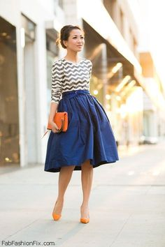 Romantic skirt and stripes... This girl has a look book on YouTube and has this awesome video about how to wear a scarf. I think this is the girl....