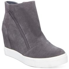 Steve Madden Women's Lazaruss Wedge Sneakers (740 NOK) ❤ liked on Polyvore featuring shoes, sneakers, grey suede, hidden wedge sneakers, wedge sneakers, steve-madden shoes, hidden wedge heel sneakers and gray shoes