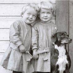 Little Twins on Wooden Porch w Dog Vintage Photo Print. $24.00, via Etsy.