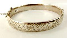 Vintage Hand Etched Silver BRACELET BANGLE 1964