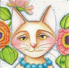 CAT Flowers Zinnias NFAC Original Painting EBSQ Deb Harvey Art Feline Nation…