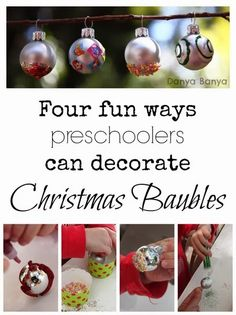 Kids decorated Christmas baubles - they make such pretty ornaments for your tree! #xmas #glitter #finemotor ~ Danya Banya