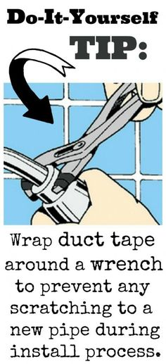 DIY Tip: Wrap duct tape around the teeth of a crescent wrench to avoid marks on new plumbing. Funky Junk, Plumbing Tools, Plumbing Valves, Home Fix, Home Repairs, Fix You, Duct Tape, Things To Know, Housekeeping