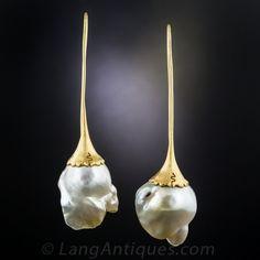 Modern Baroque Pearl Earrings by Fichot