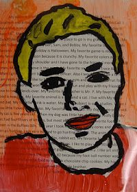 Warhol Inspired Portraits Art lesson Kids can write words about themselves and draw a contour line portrait on top.