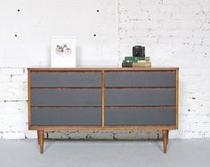 Wood Dresser with matte gray drawer fronts