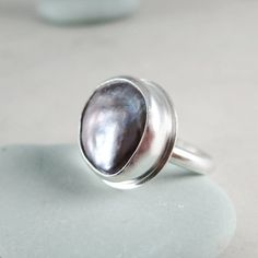 Pearl ring Sterling Silver gray coin pearl by BarronDesignStudio, $49.00