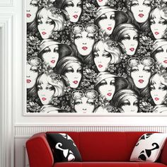 Not my grandma's wallpaper indeed...  Vintage Faces Wall Tiles Black now featured on Fab. by designyourwall.com