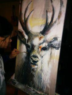 Oh my deer. 20X40. Huile sur toile. Laurie Marois Artiste Peintre.