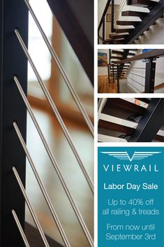 You're in luck! We're having a special Labor Day sale on all of our railing and stair treads. Head to our website to start building your system, and save up to 40% off! But be warned—this exclusive sale only lasts until September 3rd. #design #interiordesign #DIY #renovation #Viewrail #ViewrailFLIGHT #FloatingStairs #FloatingStaircase #stairs #staircase #architecture #cablerailing #railing #rodrailing #glassrailing #modern #contemporary #coastal #deck #balcony #exterior #sale