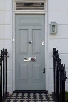 Grey front door with very nice nickel door furniture. For door knob and letter plate click below: http://www.priorsrec.co.uk/door-furniture/c-p-0-0-3