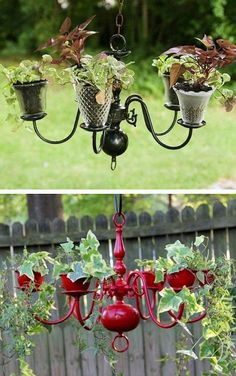 Welcome to the diy garden page dear DIY lovers. If your interest in diy garden projects, you'are in the right place. Creating an inviting outdoor space is a good idea and there are many DIY projects everyone can do easily. Chandelier Planter, Diy Hanging Planter, Diy Planters, Garden Planters, Planter Ideas, Red Chandelier, Chandeliers, Rocks Garden, Outdoor Chandelier