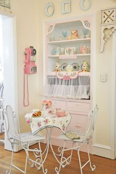 This is a gorgeous post from Sweet Eye Candy Creations - many many lovely photos of this shabby kitchen
