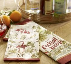 Tropical Cocktail Bar Towels, Set of 2 #potterybarn