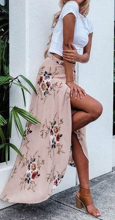 Women's Casual High Slit Floral Printed Irregular Skirt