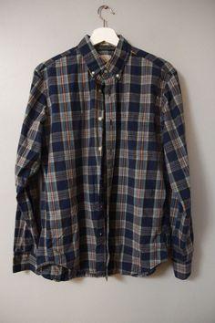 J. Crew Men's Shirt Sz M 15 15 1/2 Blue Plaid Cotton Slim Fit Career Casual  #JCREW #ButtonFront