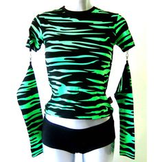 Living Dead Souls Zebra Top Green & Black - Alternative, Gothic, Emo Clothing found on Polyvore featuring polyvore, fashion, clothing, tops, shirts, green shirt, gothic tops, gothic shirts, zebra top and black top