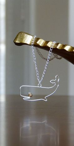 Wire Jewelry Whale Necklace  Animal Pendant by Elementsofwireshop