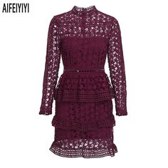 Nice Awesome 2018 Hot Spring Red Sexy Women Lace Dress Hollow Crochet Evening Party Dresses 2018