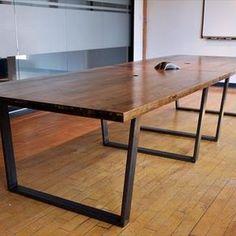 Reclaimed Wood Conferance Table On Metal Base by Alan Washington