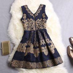 Vintage V-Neck Ruffled Floral Embroidery Sleeveless Women's DressVintage Dresses | RoseGal.com