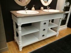 Waschtisch weiß Massivholz, Doppelwaschtisch im Landhausstil, Spiegel optional
