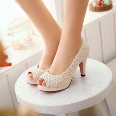 Womens High Heel Open Toe Lace Slip on Court Wedding Shoes Sandal Beige US 10 42 Wedding High Heels, Red Wedding Shoes, Lace High Heels, High Heels For Prom, Slip On Pumps, Open Toe High Heels, Open Toe Sandals, Womens High Heels, Bridal Heels