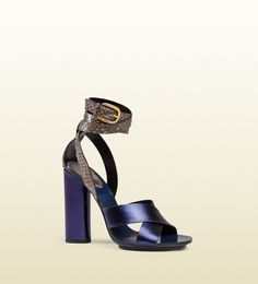 candy metallic leather and python sandal
