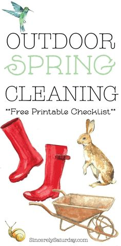 Outdoor spring cleaning with free checklist.