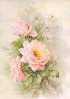 De Longpre Study -Soft Pink Roses