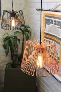Wire cage ceiling lights in black or copper