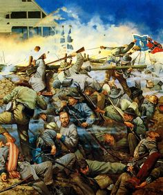 """""""On the Rim of the Volcano"""", by Keith Rocco. This painting depicts the fighting at the Battle of Franklin, Tennessee, on November beneath the angle near the Carter cotton gin. American Civil War, American History, Civil War Art, Franklin Tennessee, Southern Heritage, Confederate States Of America, Military Art, Military Service, History Photos"""