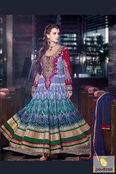 Monarchical light blue dark pink anarkali bollywood salwar suit is decorated with nice lace patti work, sequence work, stone work and patch work on it.  #pavitraa, #salwar suits, #anarkali salwar suits, #designer dresses, #party wear dresses, #salwar kameez, #lehenga suits, #bollywood dresses, #onlinesuit
