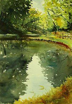 Watercolor Artist Kazuo Kasai (Japan: 1955) -  April 2014 -  Brand-new greens at Yokohama 36cm×51cm