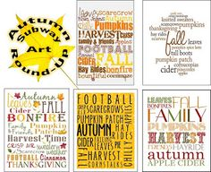 Autumn Subway Art Round-Up (FREE PRINTABLES!) great printing tips excluded!