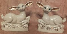 2 Vintage Sitting White Deer Figurines by MoonbearConnections