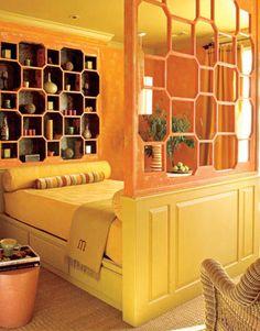 Cool orange guest room