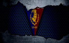 Download wallpapers Pogon, 4k, logo, Ekstraklasa, soccer, football club, Poland, grunge, Pogon Szczecin, metal texture, Pogon FC